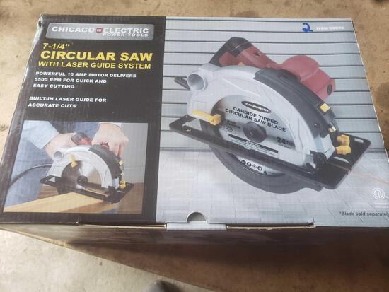 New Chicago electric 7 and 1/4 and circular saw with laser guide system