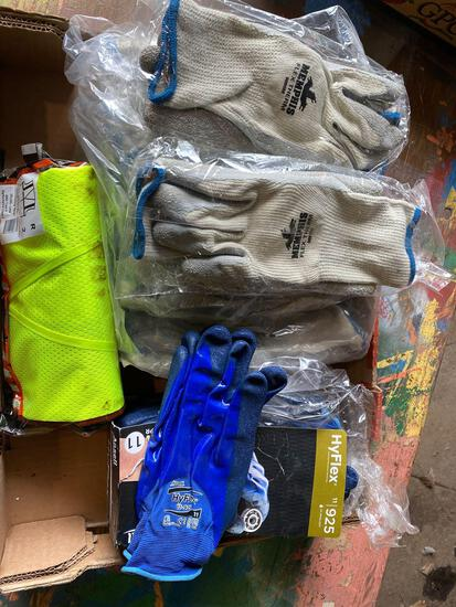 (12) pair new Memphis flex therm work gloves, (12) HyFlex mechanic gloves and (1) 2X-3x new safety