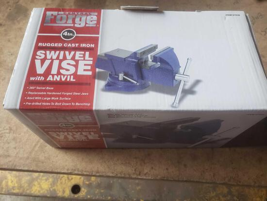 New central forge 4 inch rugged cast iron swivel vice with anvil