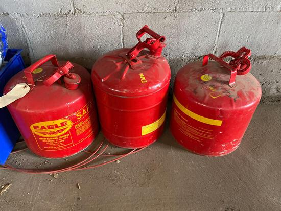 (3) like new metal gas cans