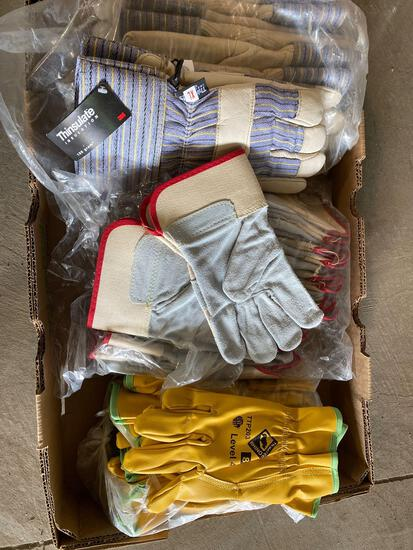 (5) New Thinsulate leather work gloves, (12) new leather palm work gloves (12) new Rhino Level 4