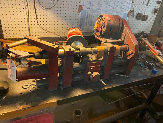 Custom made blade sharpener, this machine was used to sharpen tube cutting wheels