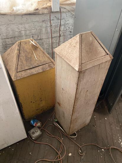 2 vintage metal trash cans