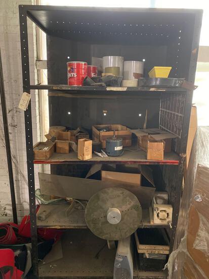 3 shelves, misc scrap contents and bread racks