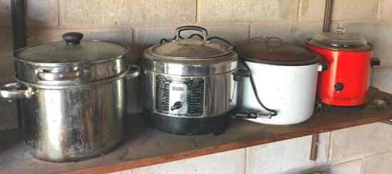 Vintage Red Rival Crock Pot, fryer cooker, and additional stockpots
