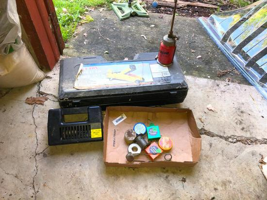 Hydraulic Floor Jack, electric inflater, vintage Prepo fuel torch and random soldering items