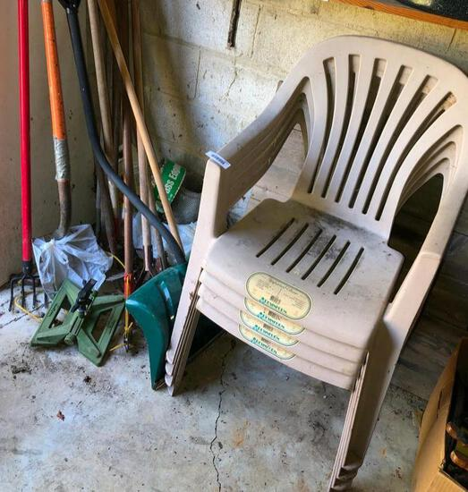 Stack of outdoor chairs and random yard tools - LOOK AT THE PICS