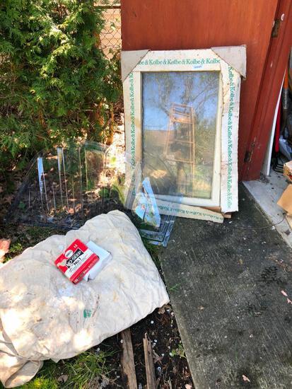 Casement window, painters tarp & other random items.