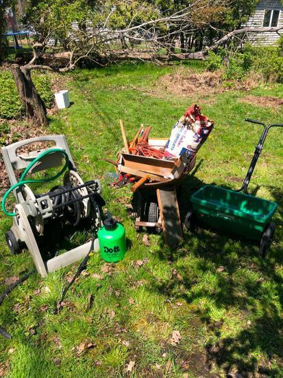 Wheelbarrow, hose wheel cart and other random yard items