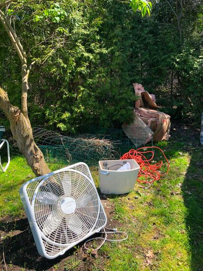 Box fan, toilet tank - never used, extention cord and yard fencing