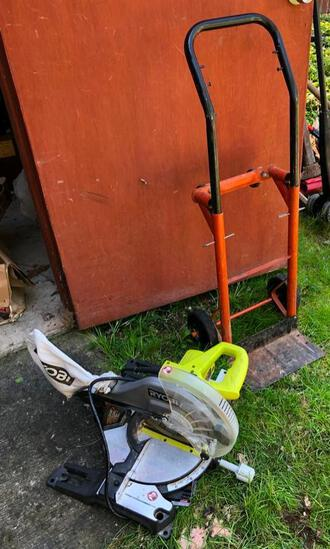 Ryobi miter saw and moving dolly / hand truck