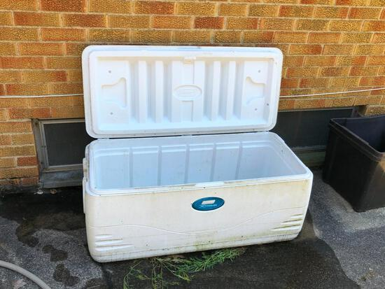 Large cooler, hose and 6' picnic table