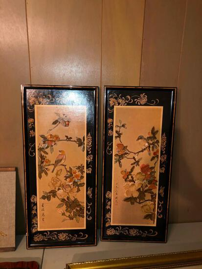 Random framed artwork - some with ornate and gilded frames