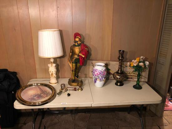 Mixed lot with cherub lamp Roman statue, vintage hairdryer and miscellaneous items