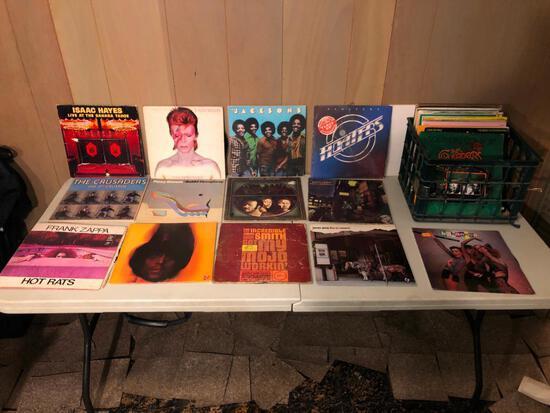 Vintage vinyl record albums in crate
