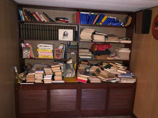 Basement bookshelf with all contents