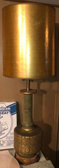 4' H vintage gilded lamp