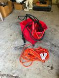 Jumper Cables, Extension Cord, Red Bucket and Tire Pressure Gauge