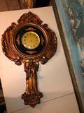 Vintage clock, large framed artwork, gilded mirror