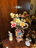 Contents of Middle Section of Dining Room Wall Unit includes Capodimonte...porcelain vase and flower