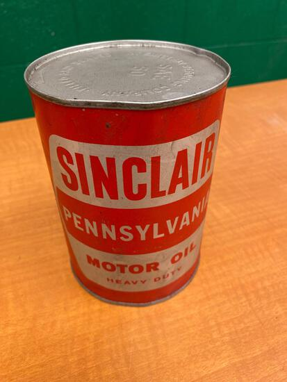 Unusual Sinclair Pennsylvania motor oil 1 quart can, unopened