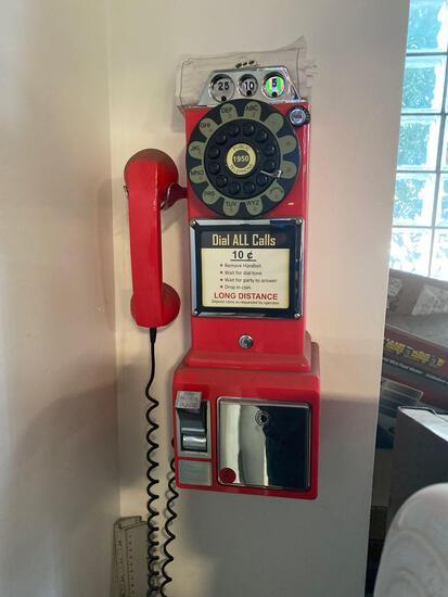 Vintage look, push button wall mounted telephone