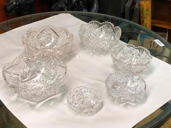 Set of 6 Crystal Stacking Bowls