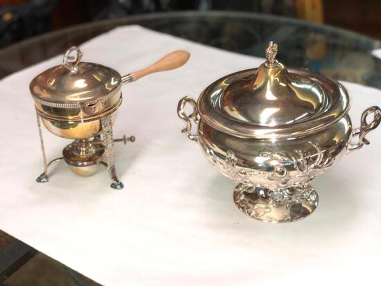 Silver Plated Tureen and Fondue Pot