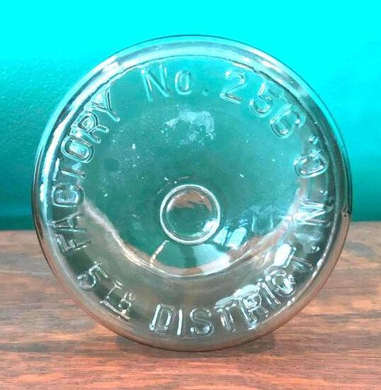 Vintage 5th District Tobacco Store Counter Cigar Glass Jar