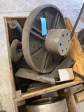 Crate of assorted tooling, includes several large drill bit