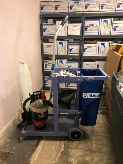 Janitor Cart with Backpack Vacuum