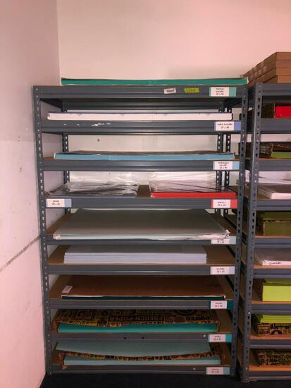 Contents of Industrial Shelf including Cordenons, Basis, French Paper Brand Card Stock