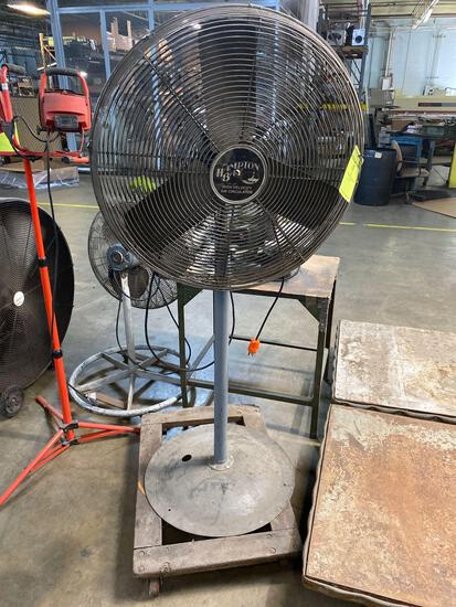 Hampton bay pedestal industrial fan, 32 inches across, 68 inches tall