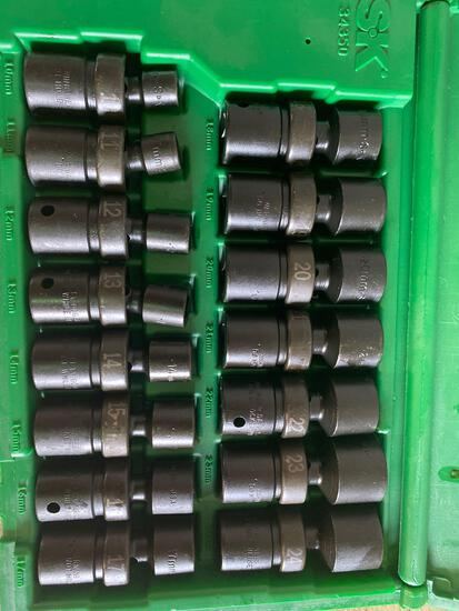 New in box S&K 24 piece swivel sockets. 10mm-24mm. 1/2 in drive