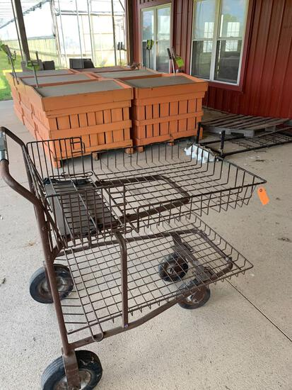 Metal cart on wheels