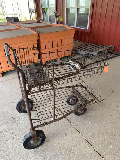 Metal cart on wheels