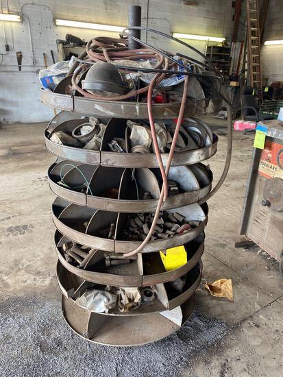 7 tier vintage rotary parts sorter w/ contents
