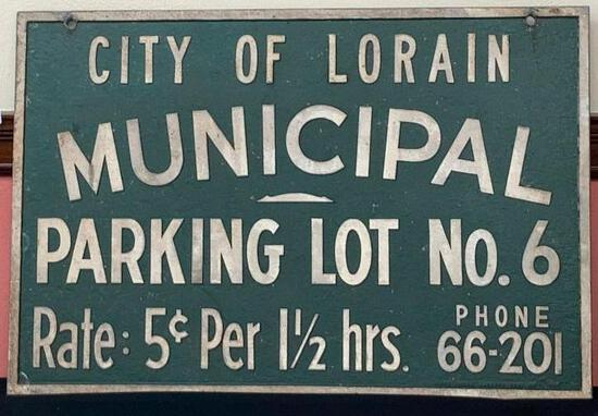 City of Lorain Municipal Parking Sign