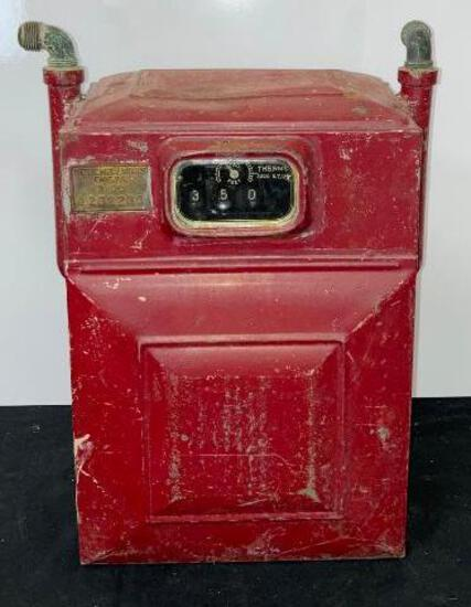 Vintage Red Metric Metal Works Erie Pa Gas Meter