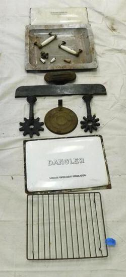 Miscellaneous Stove Parts Including Hardware and Front Plate from The Dangler Stove Company