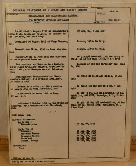 RARE- Official Statement of Lineage & Battle Honors-83d Infantry Division Artillary, National Army