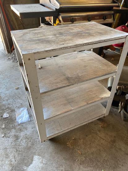 Rolling metal cart w/wood shelves