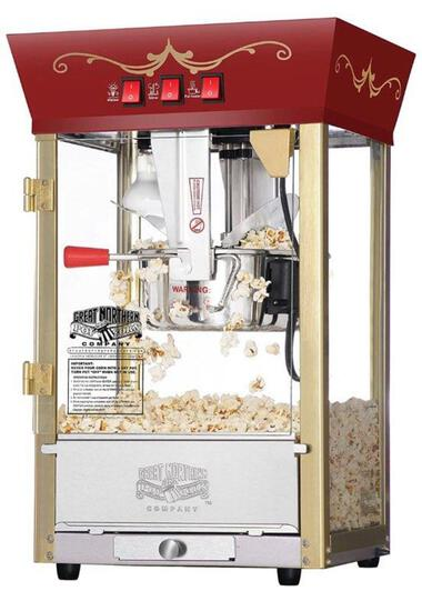 Great Northern Popcorn Red Matinee Movie Theater Style 8 oz. Ounce Antique Style Popcorn Machine