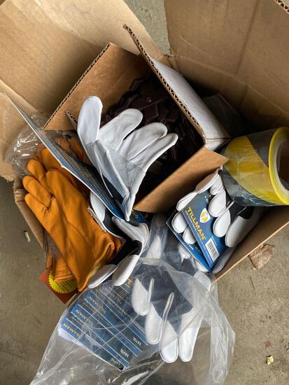 Box lot of assorted work gloves