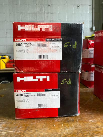 (2) New boxes of Hilti 14x3/4 self tapping screws (8000 pcs)