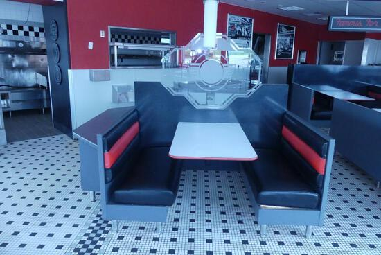 Island of Booths with Menu Rack - 2 Booths - Seats 7
