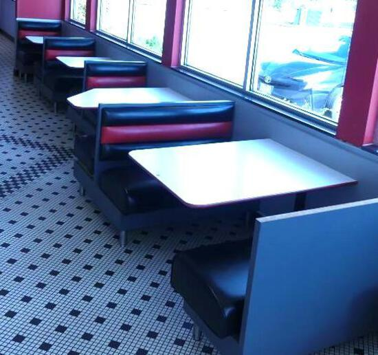 Row of Booths by East Wall. 4 Booths - Seats 11