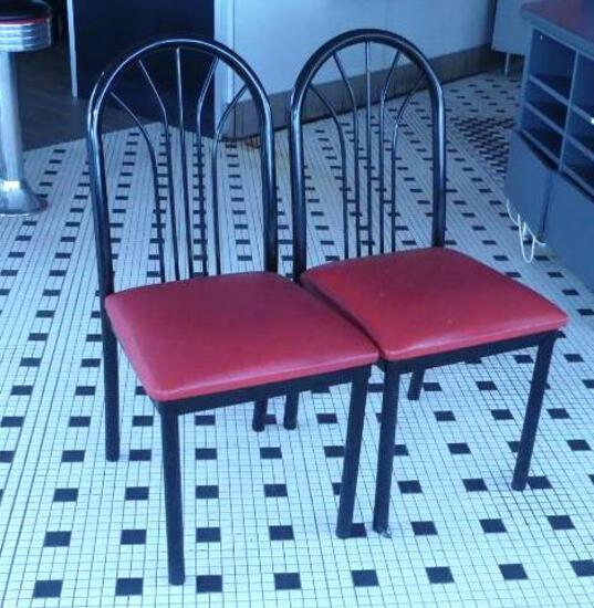 Black Framed Chairs with Red Vinyl X 4
