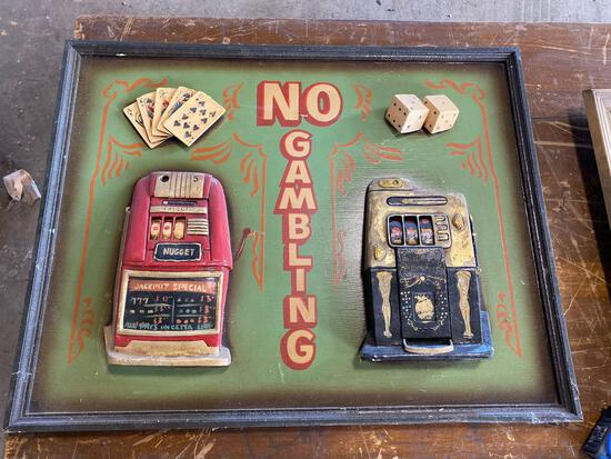 30x24 NO GAMBLING raised bar room sign