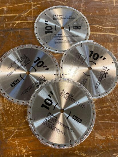 (4) new 10 in Ryobi Saw blades